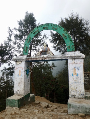 Memorial arch at the very beginning for Nepal's first female to summit Everest