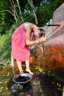 Having a shower Khahare-style 5mins walk from the house & by the river bank (Photo: Nona Budd)