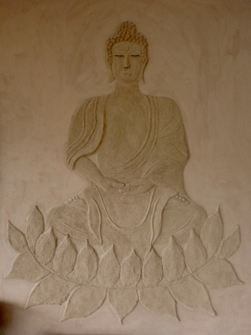 Wall sculpture in the yoga hall