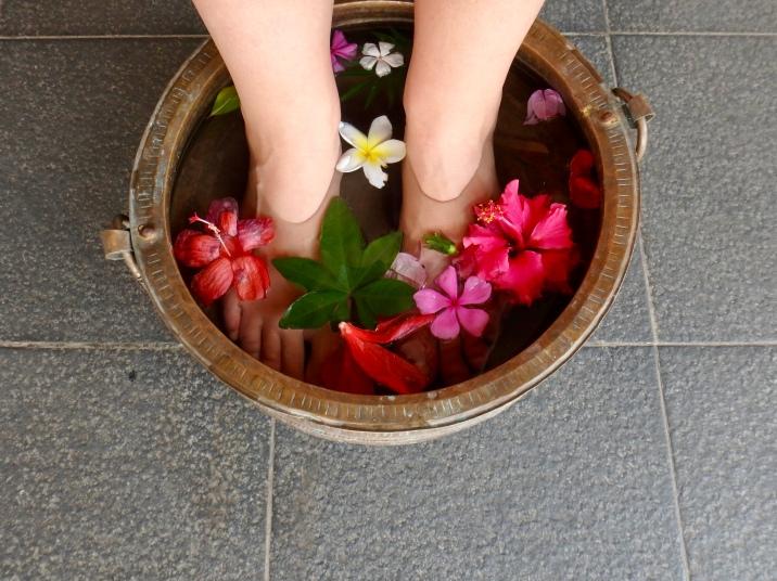 A relaxing foot bath